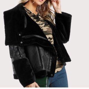 Jackets & Blazers - Black Faux Shearling Suede Moto Jacket